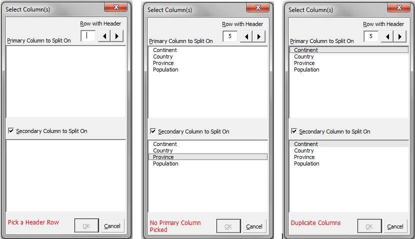 three validation messages