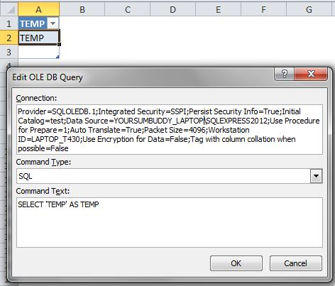 SQL Server template connection