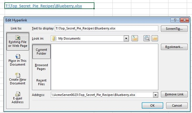 Edit hyperlink dialog